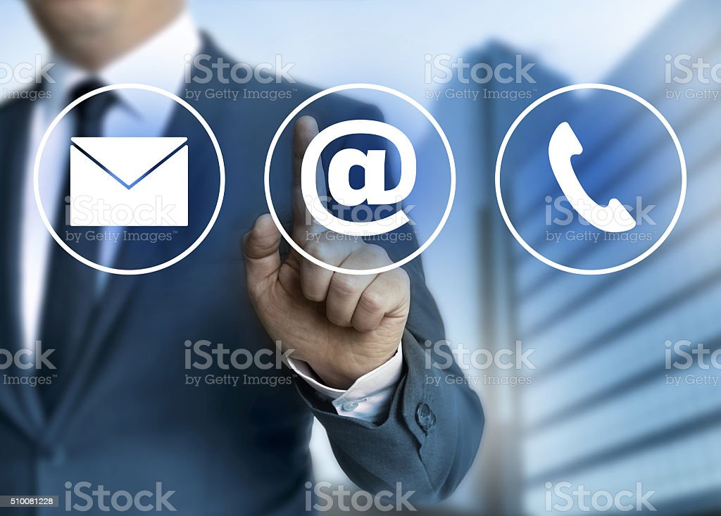 Contact e-mail, letter and phone concept stock photo
