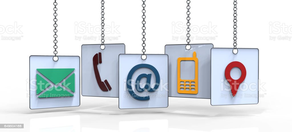 Contact hanging Icons vector art illustration