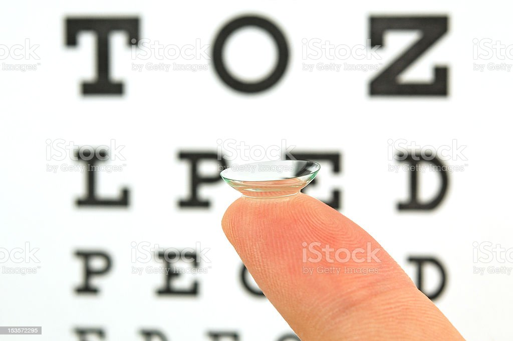 Contact lens and eye test chart stock photo