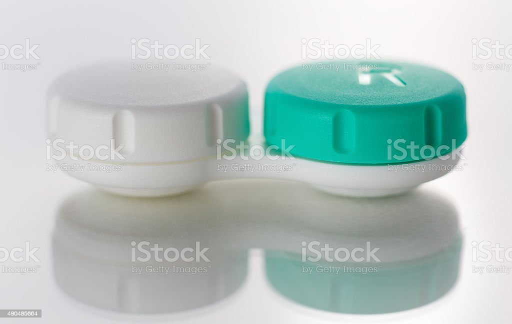 Contact lens case isolated on white stock photo
