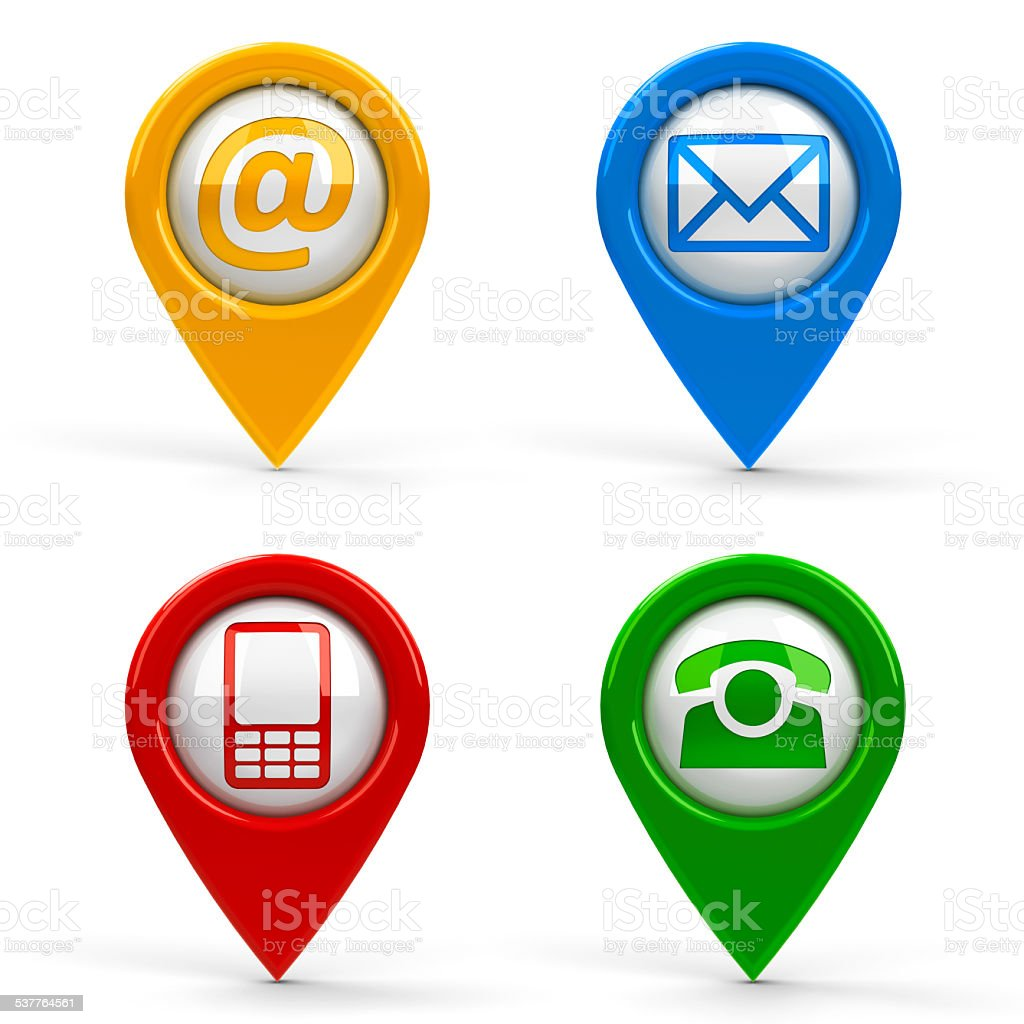 Contact map pointers stock photo