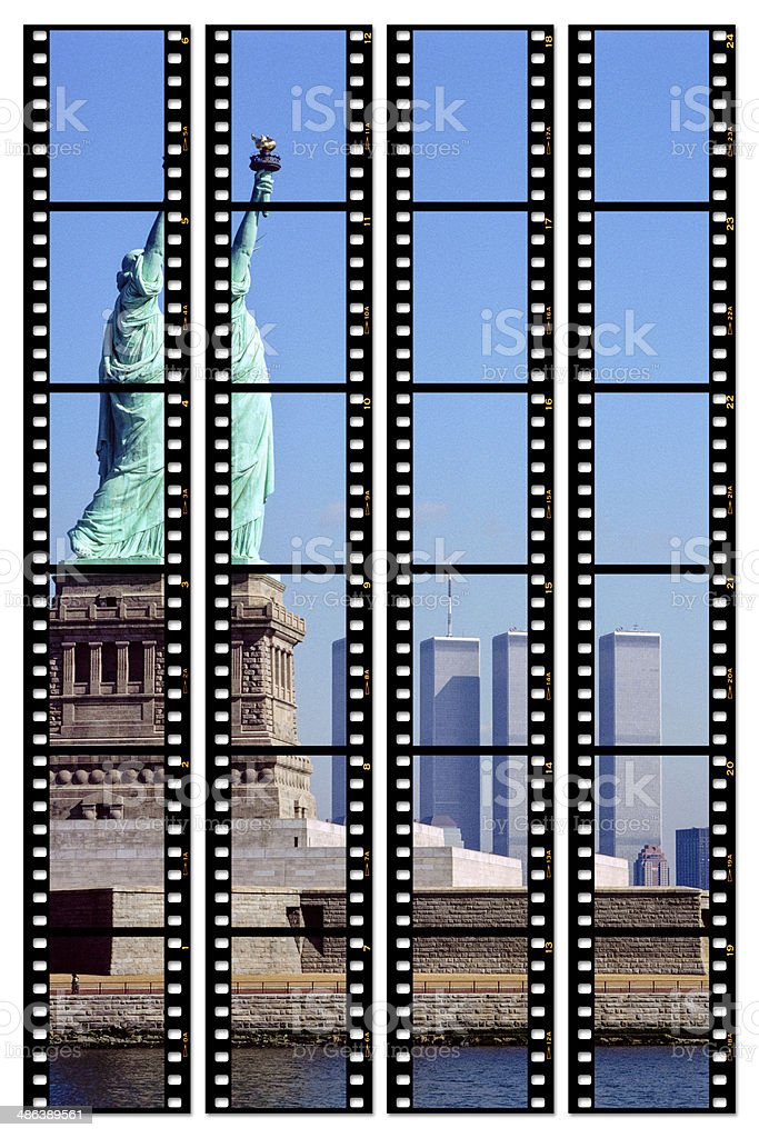 Contact sheet: Statue of Liberty and World Trade Centre 1988 stock photo