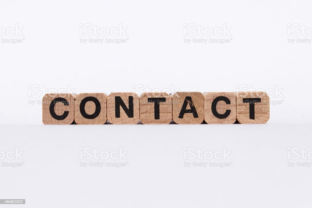 contact - text on white background stock photo