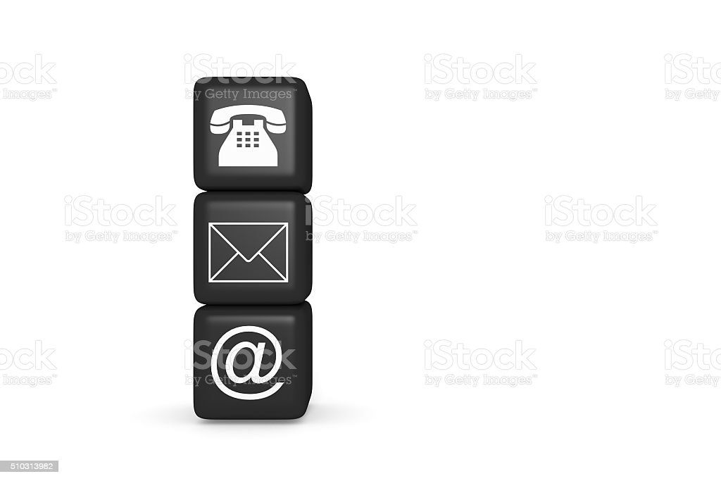 Contact us: black cubes on a white background stock photo