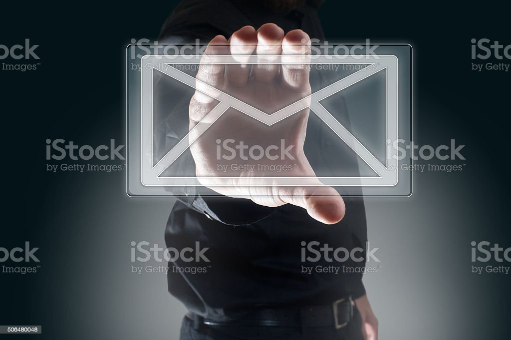 Contact us by e-mail / Touch screen conept(Click for more) stock photo