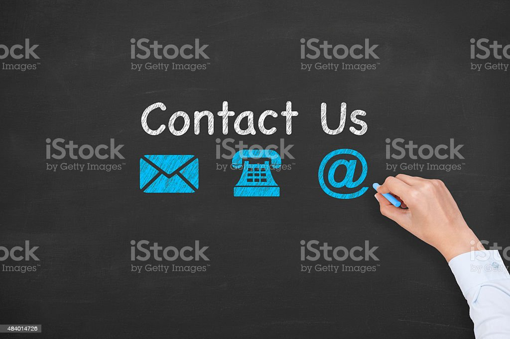 Contact Us Concept Drawing on Blackboard Texture stock photo