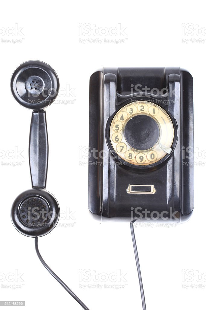 contact us concept rotary phone isolated on white background stock photo