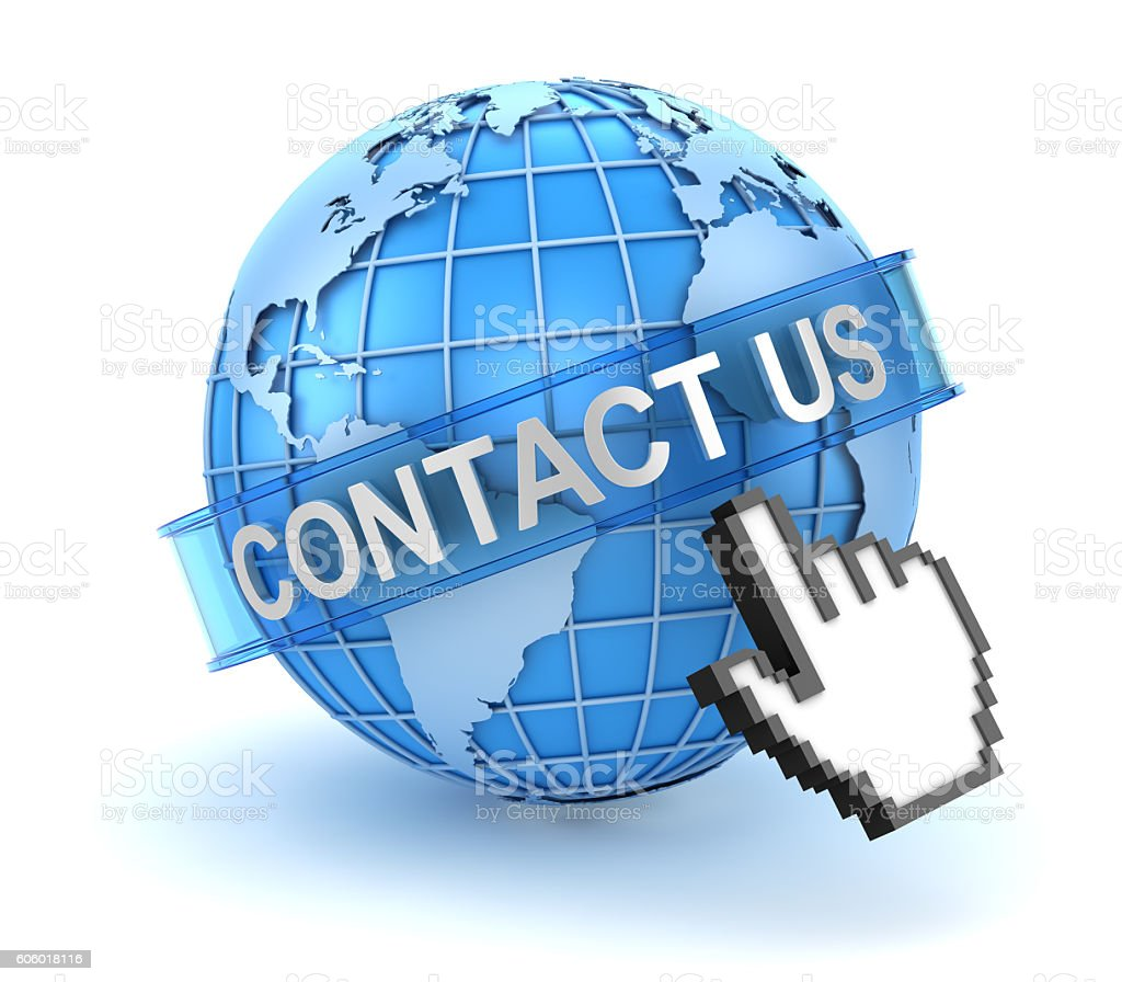 Contact us concept with world and hand cursor stock photo