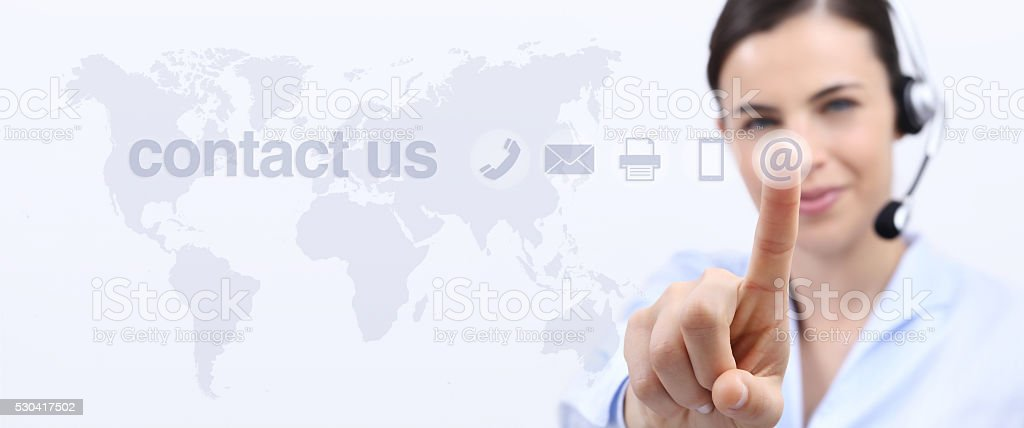 contact us, customer service operator woman with headset smiling stock photo