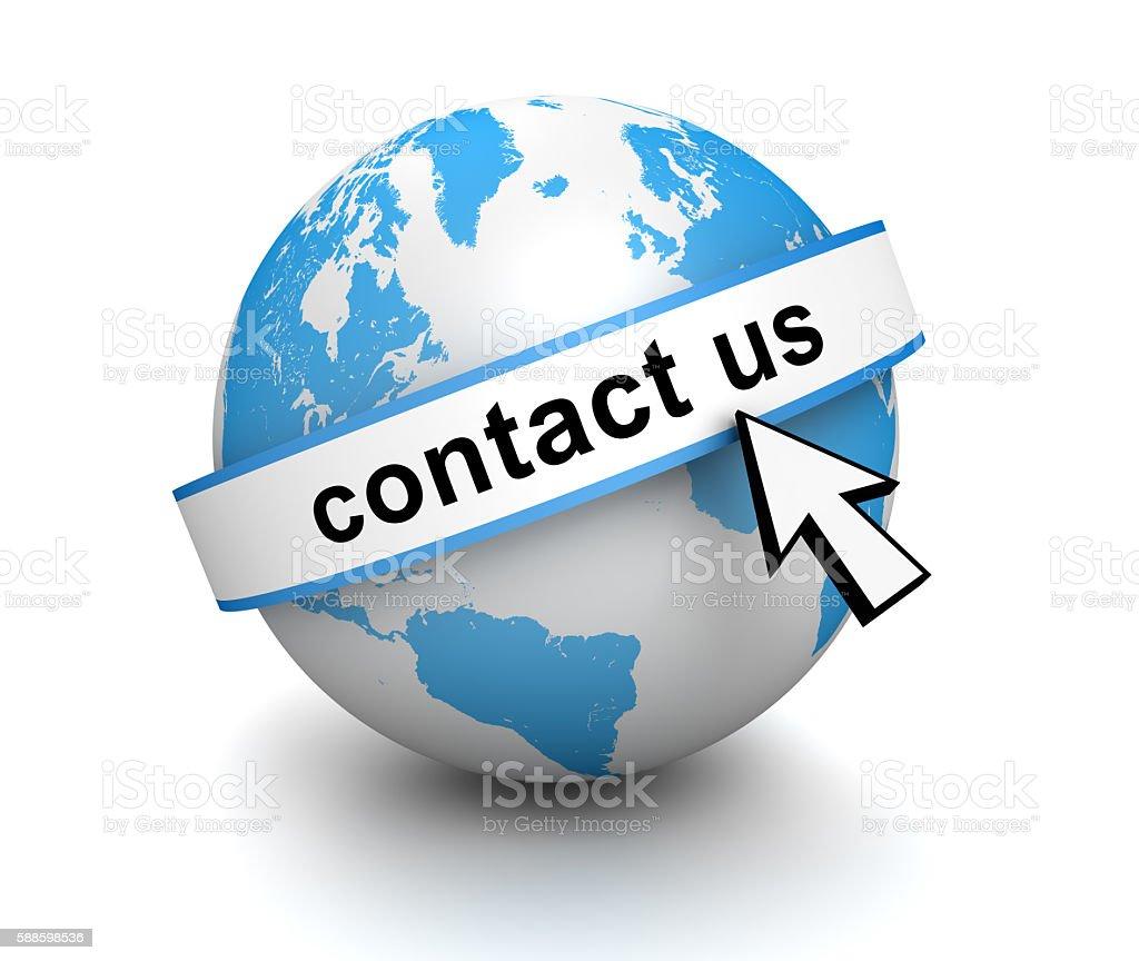 contact us globe stock photo
