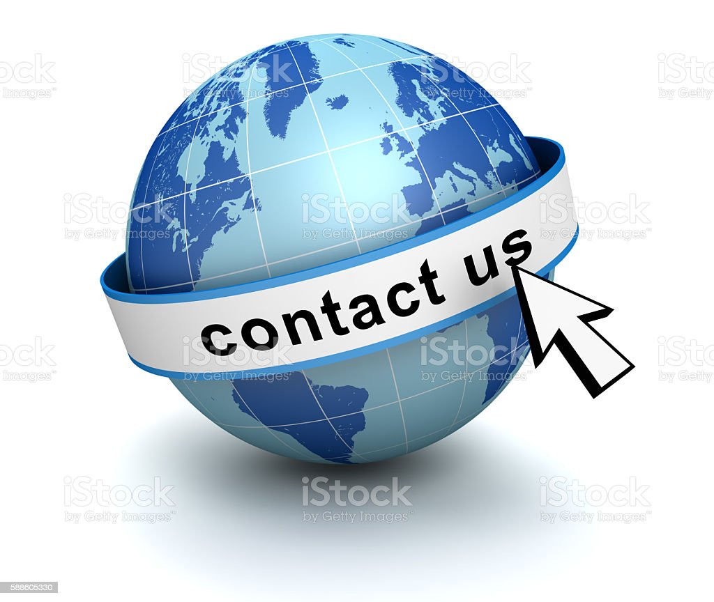 contact us globe stock photo