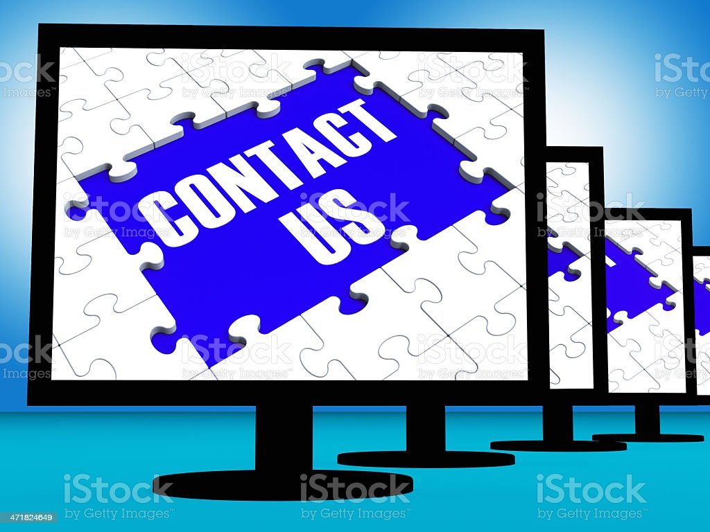 Contact Us On Monitors Shows Assistance royalty-free stock photo