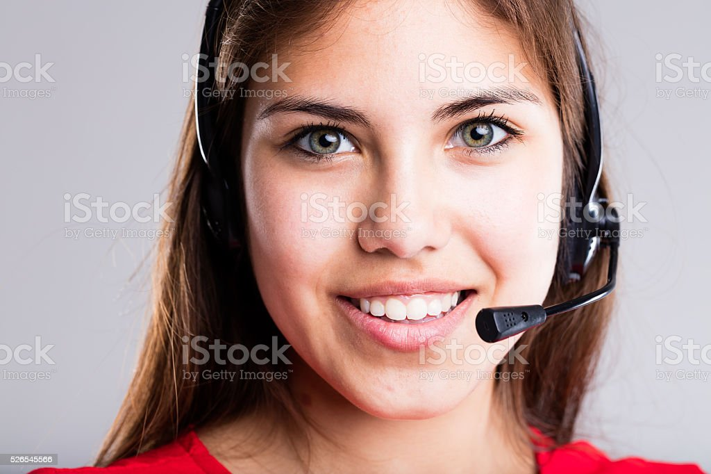 contact us says this operator stock photo