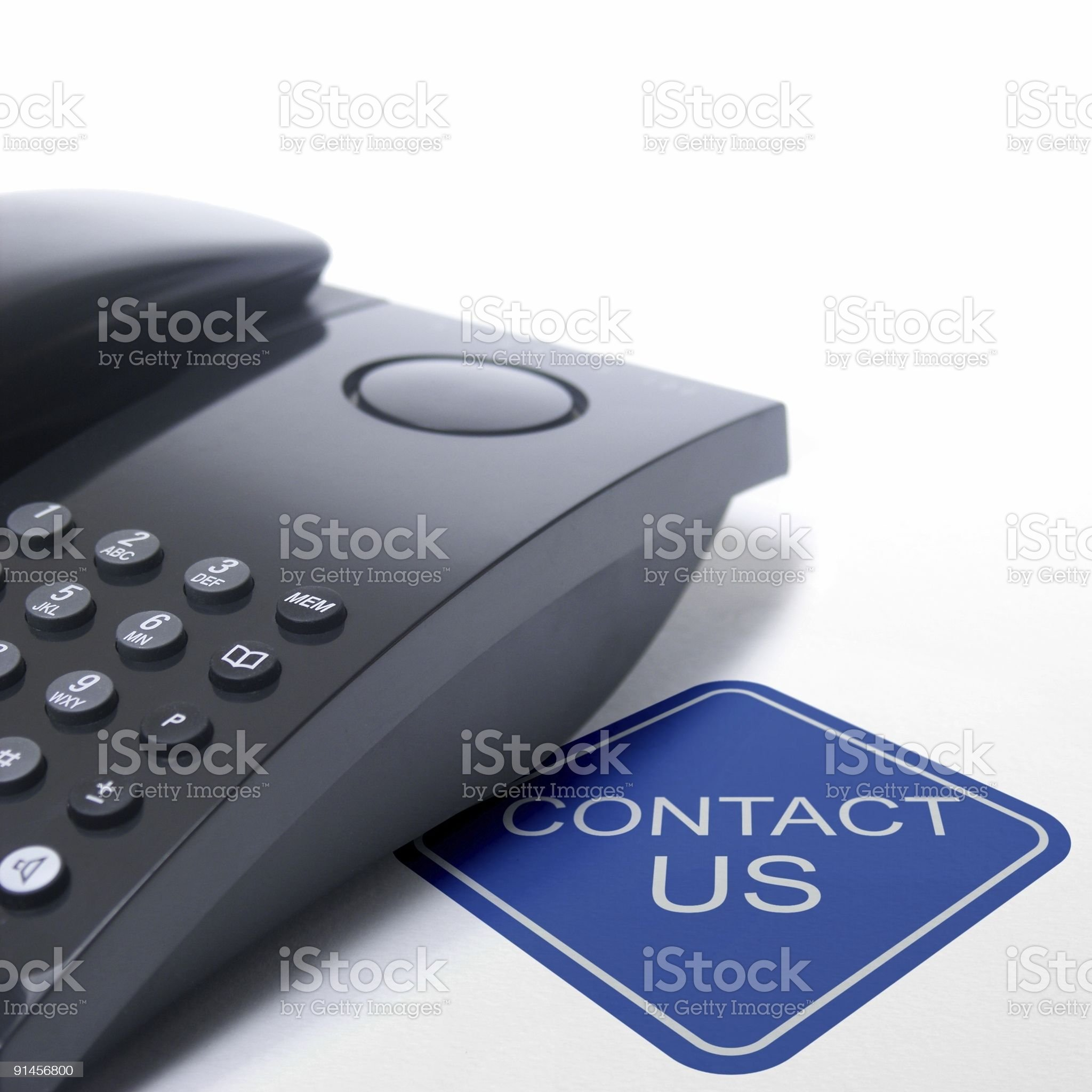 contact us sign with black telephone royalty-free stock photo