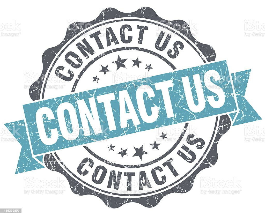 Contact us turquoise grunge retro vintage isolated seal stock photo