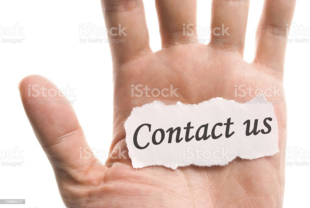contact us, word in hand royalty-free stock photo