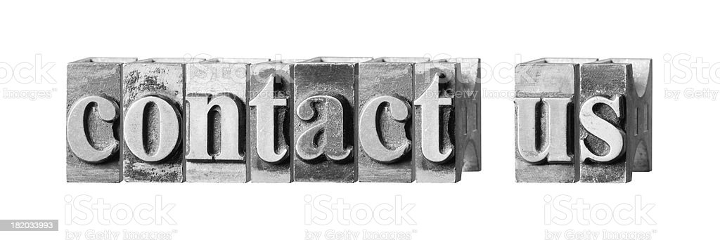 Contact Us written in metal printing press letters royalty-free stock photo