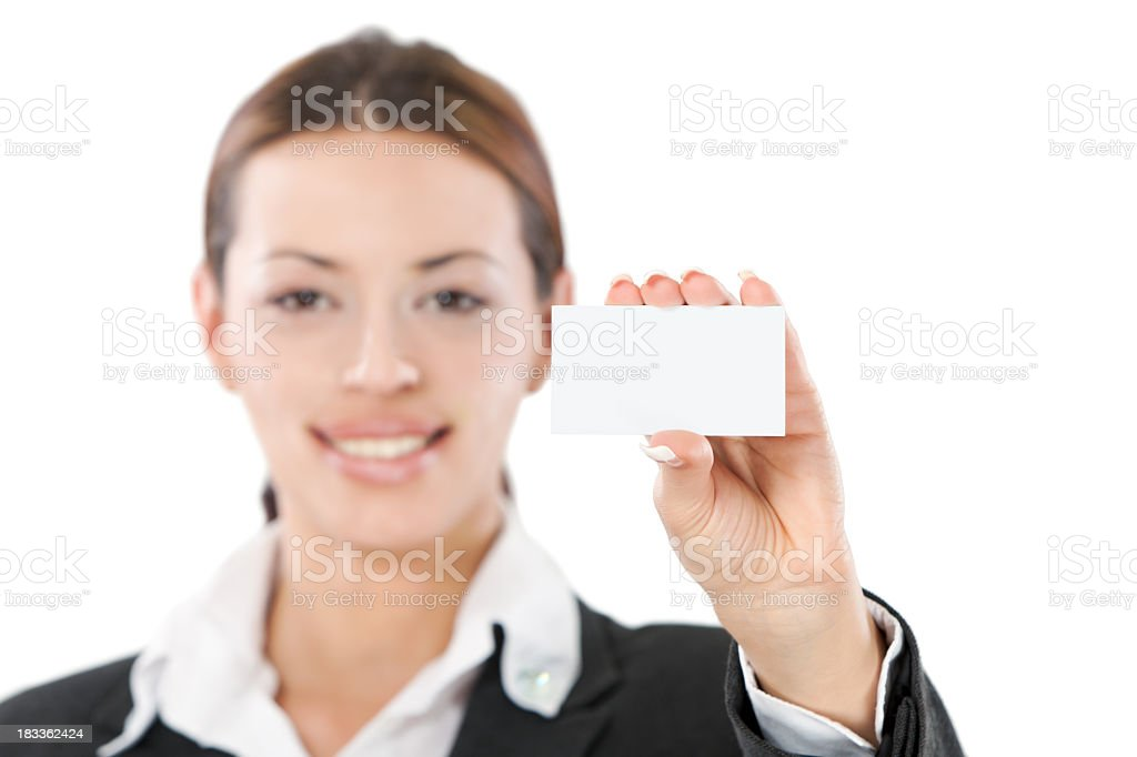 Contact Us - Young businesswoman holding blank business card stock photo