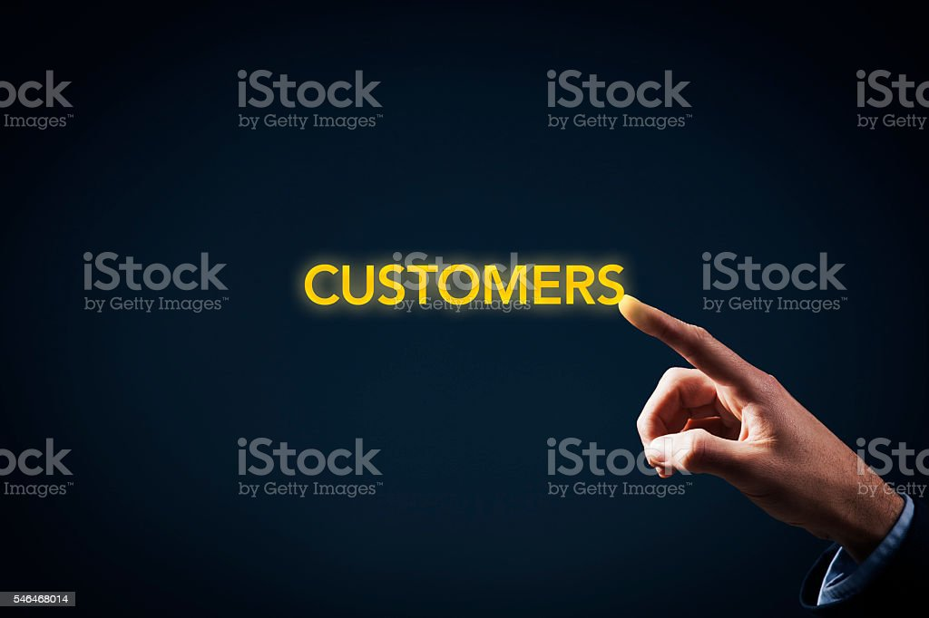 Contact with customers stock photo