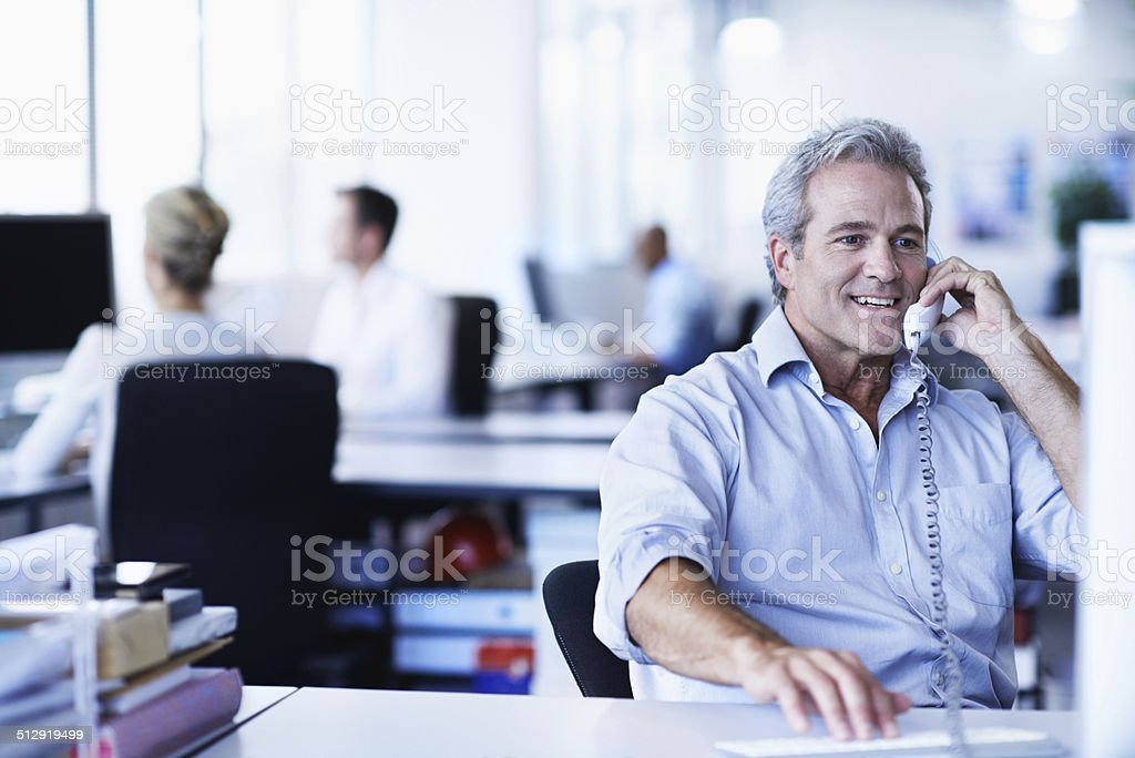 Contacting clients the old fashioned way stock photo