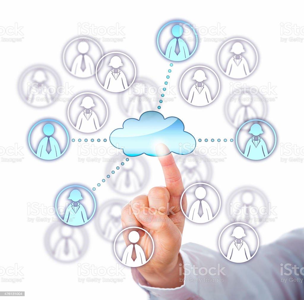 Contacting Four Work Team Members Via The Cloud stock photo