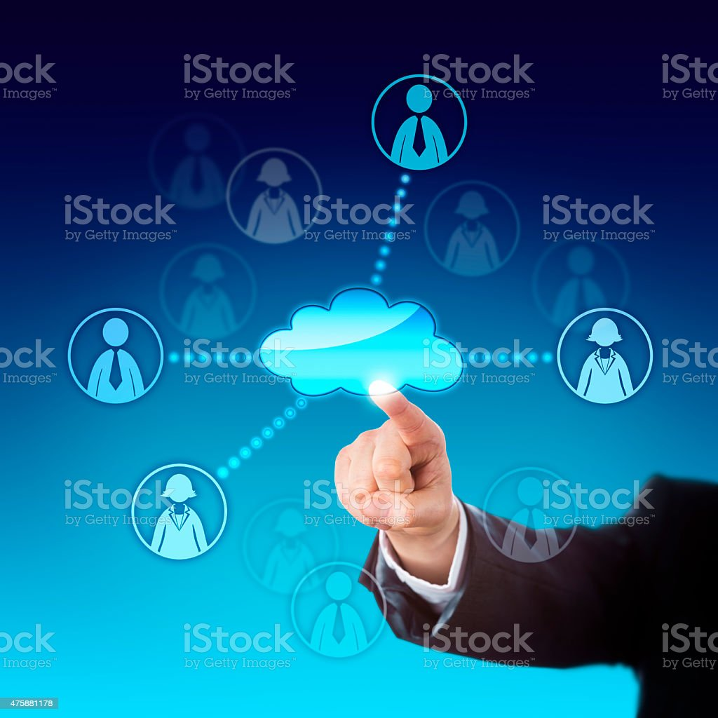 Contacting Office Workers Via The Cloud stock photo