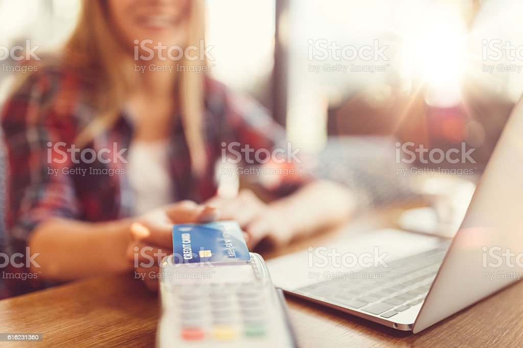 Contactless credit card payment stock photo