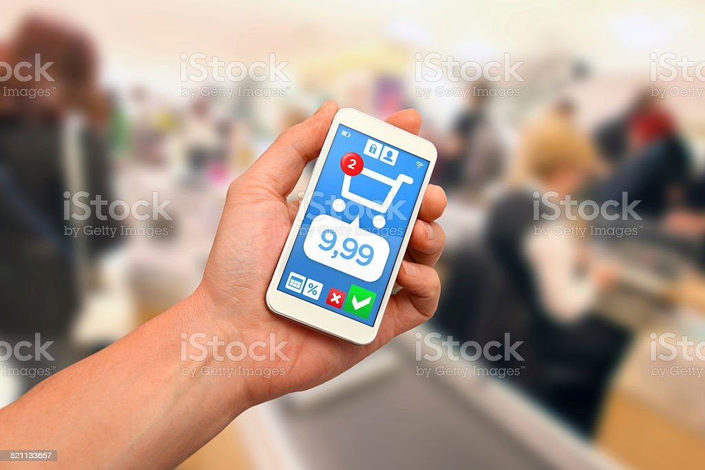 Contactless mobile payment with smartphone wallet stock photo