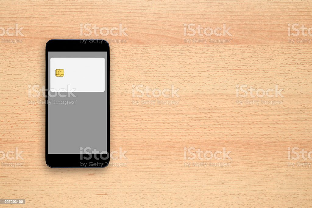 Contactless payment concept - credit card on smartphone screen stock photo