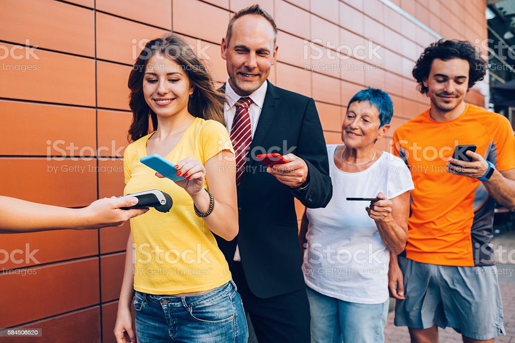 Contactless payment concept stock photo