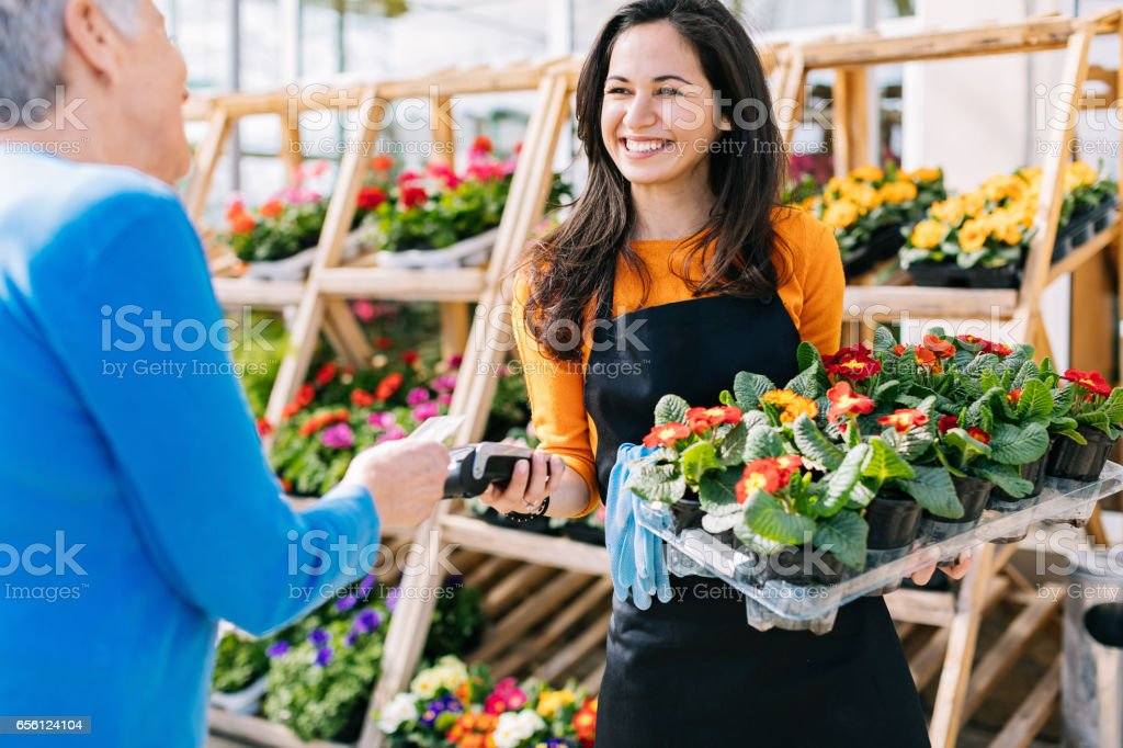 Contactless payment for fast and comfortable shopping stock photo
