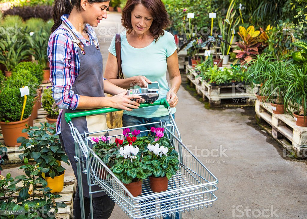 Contactless payment in Garden Center stock photo