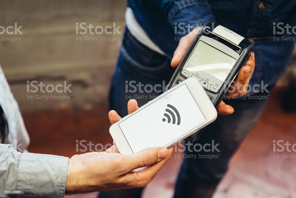 Contactless Payment with Mobile Phone stock photo