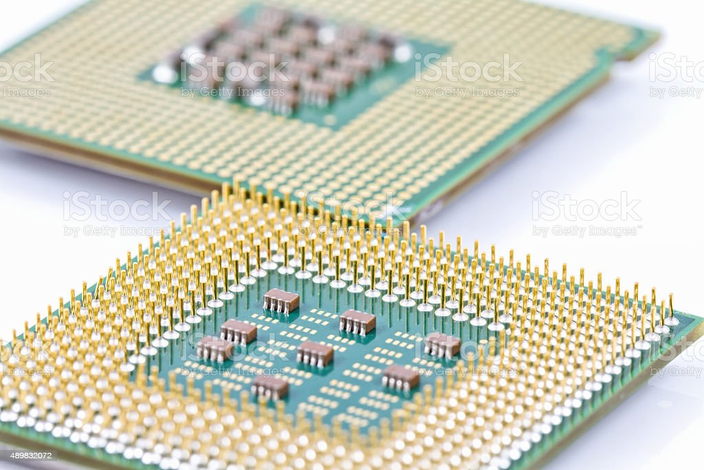 Contacts old computer CPU stock photo