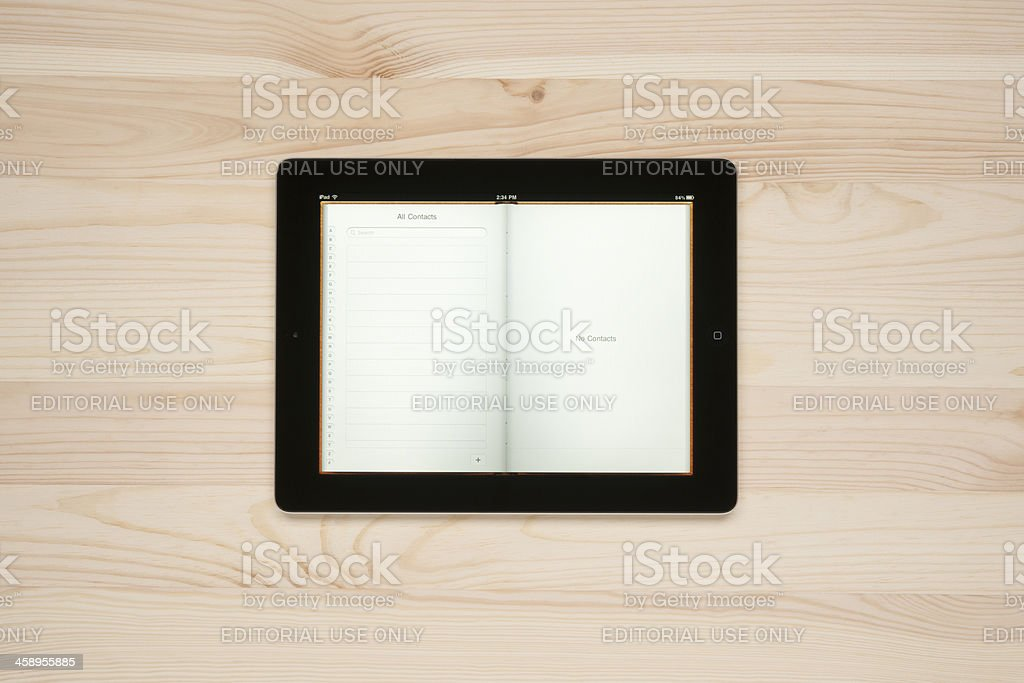 Contacts(telephone book) on Apple iPad royalty-free stock photo