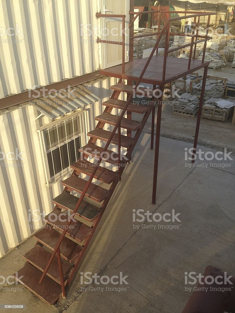 Container and staircase stock photo