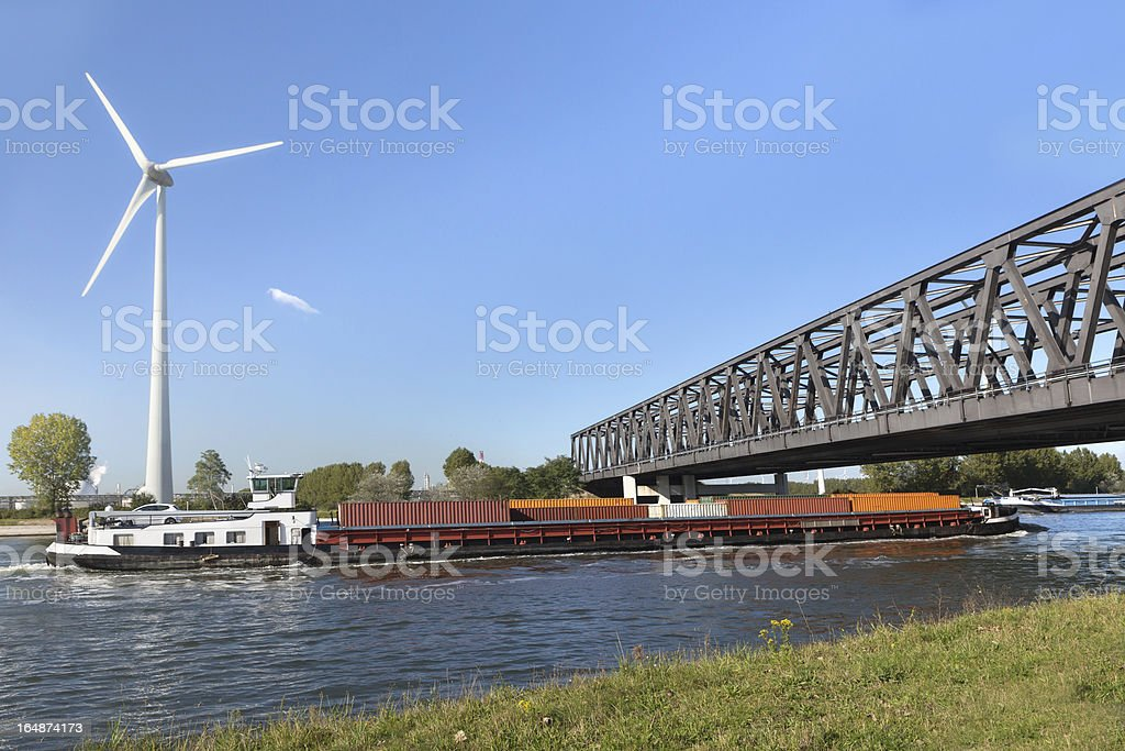 Container barge on Antwerp canal stock photo