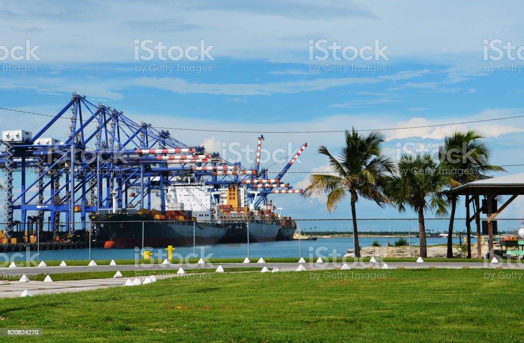 Container Cargo Port of Freeport in Grand Bahama Island stock photo