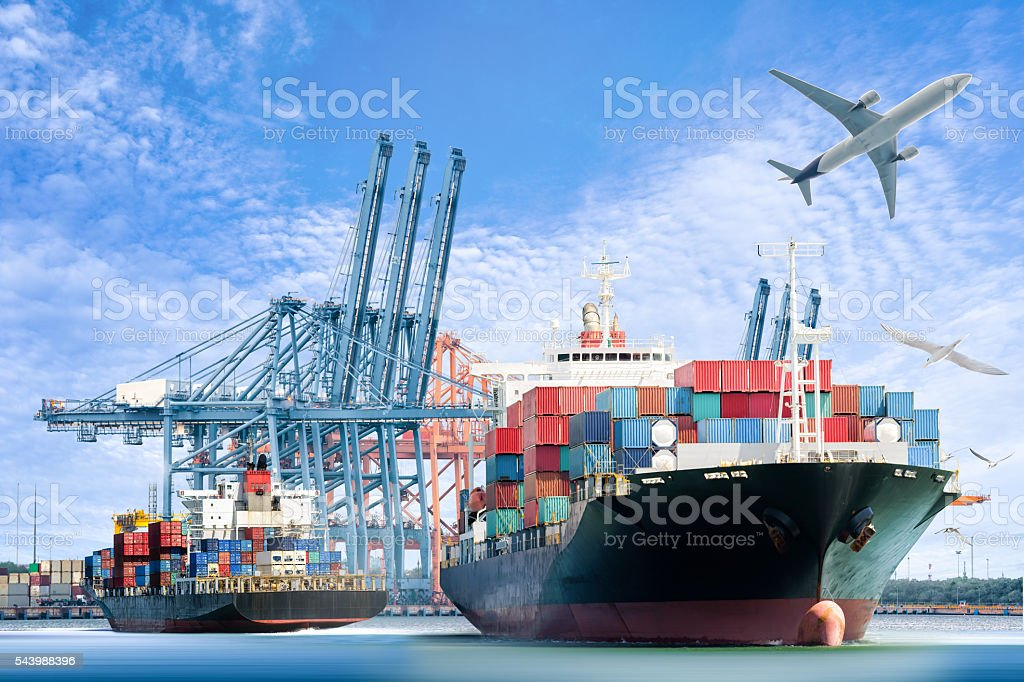 Container Cargo ship and Cargo plane for logistic import stock photo