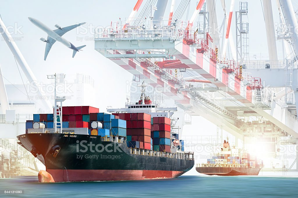 Container Cargo ship and Cargo plane with working crane stock photo