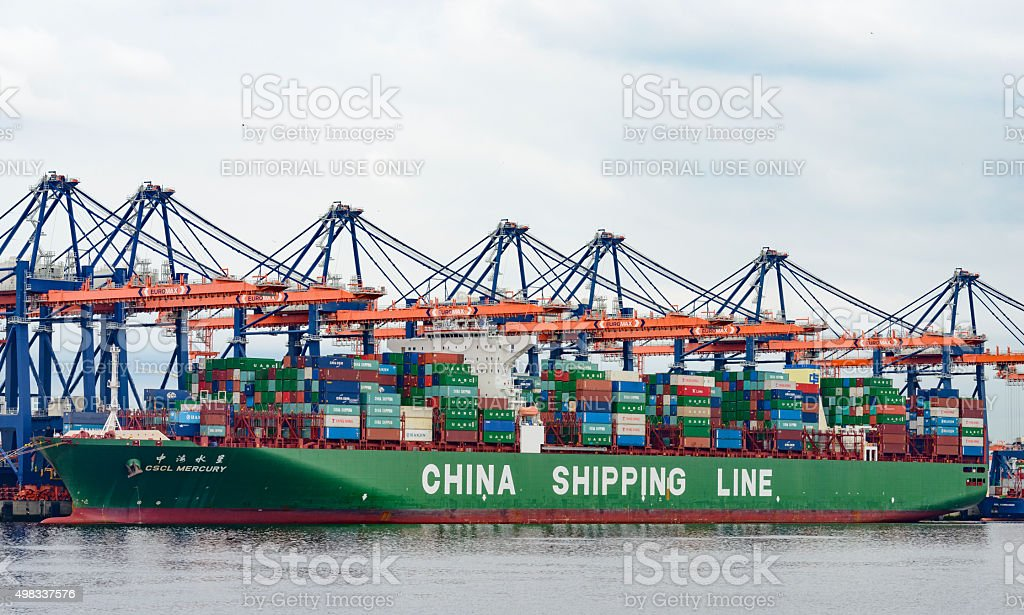Container cargo ship in port stock photo