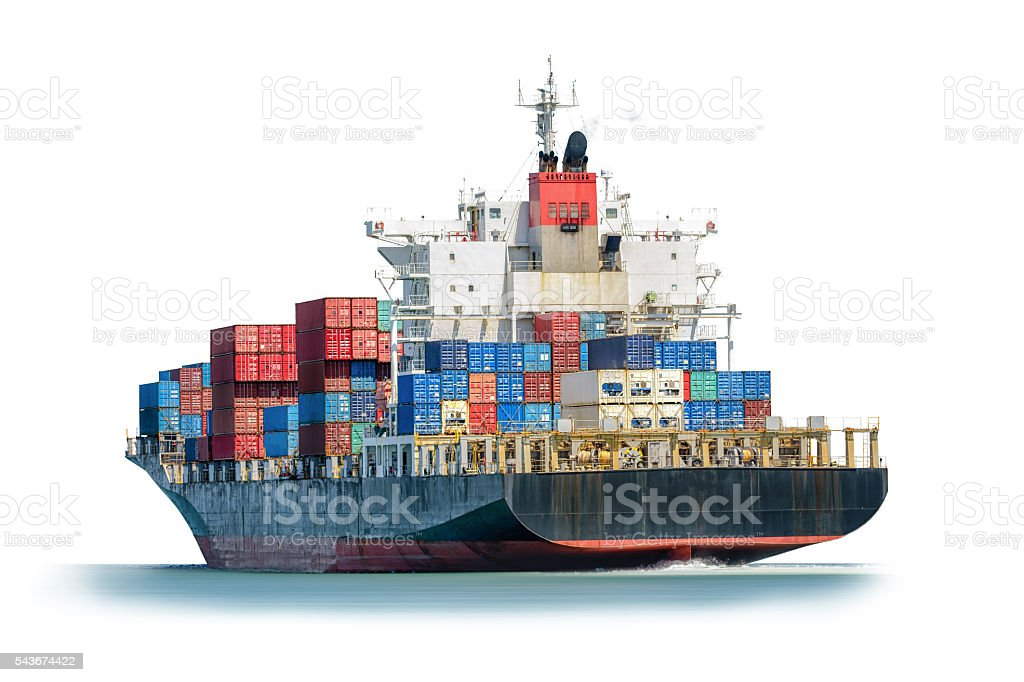 Container Cargo ship in the ocean isolated on white background. stock photo