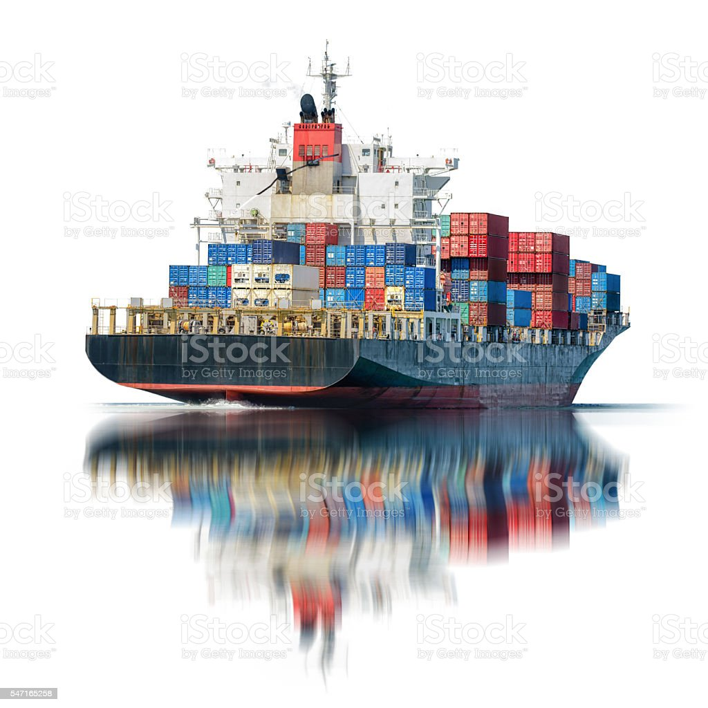 Container Cargo ship in the ocean isolated on white background, stock photo