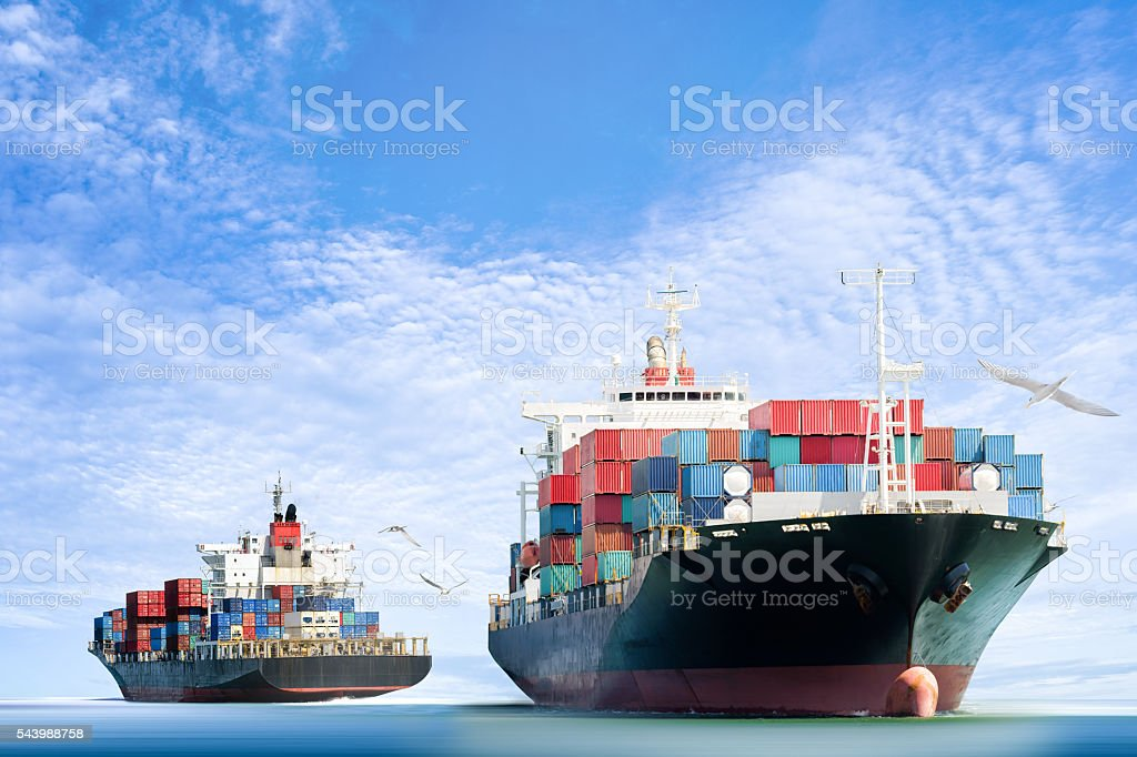 Container Cargo ship in the ocean with Birds flying stock photo