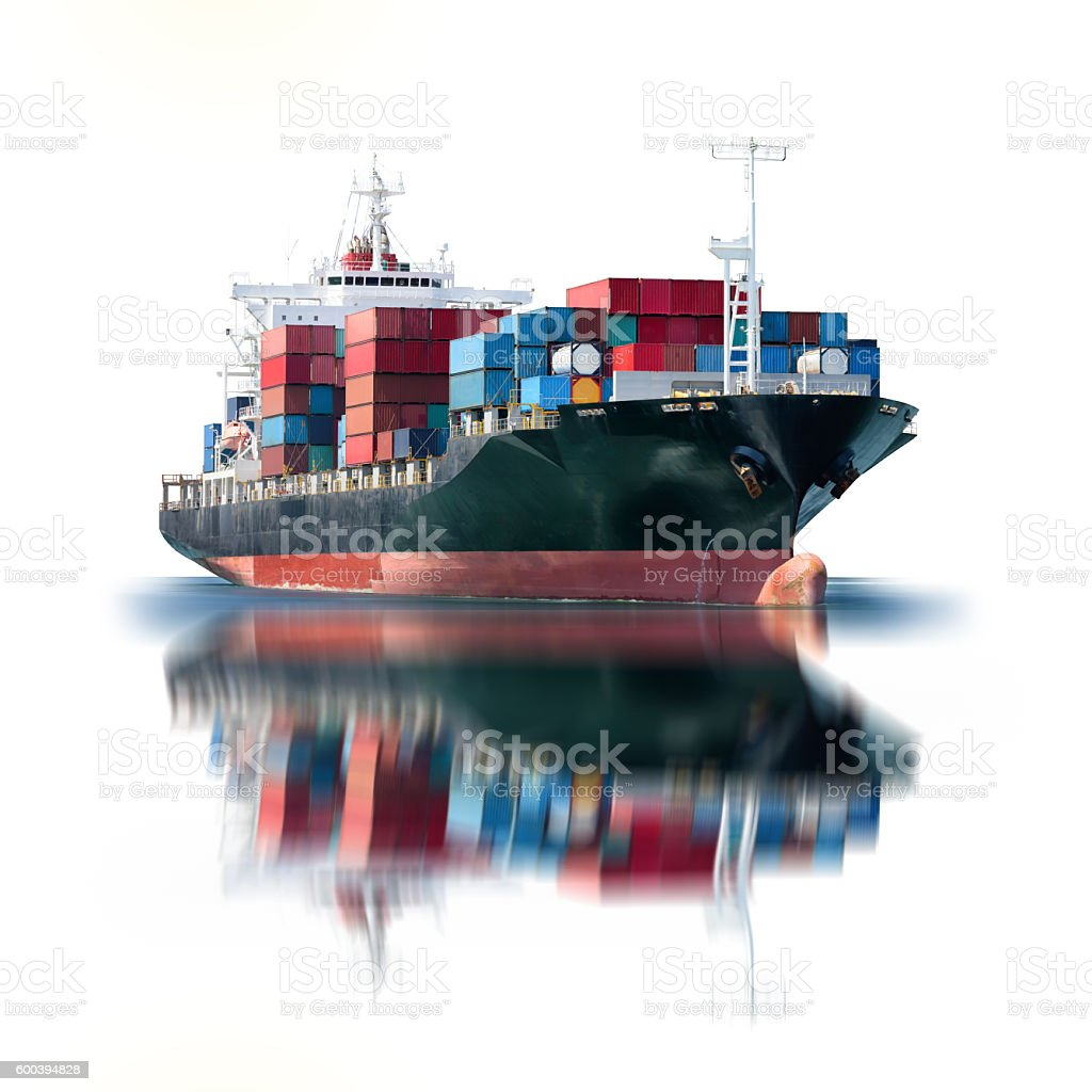 Container Cargo ship isolated on white background stock photo