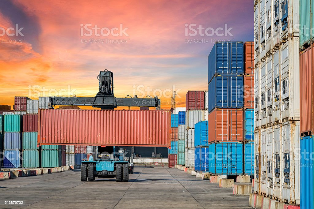 Container Cargo working in Logistic Import Export area stock photo
