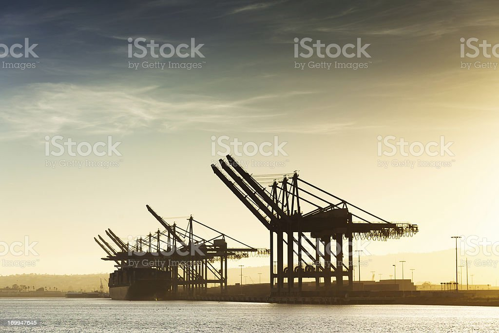 Container Cranes at the Port of Los Angeles stock photo