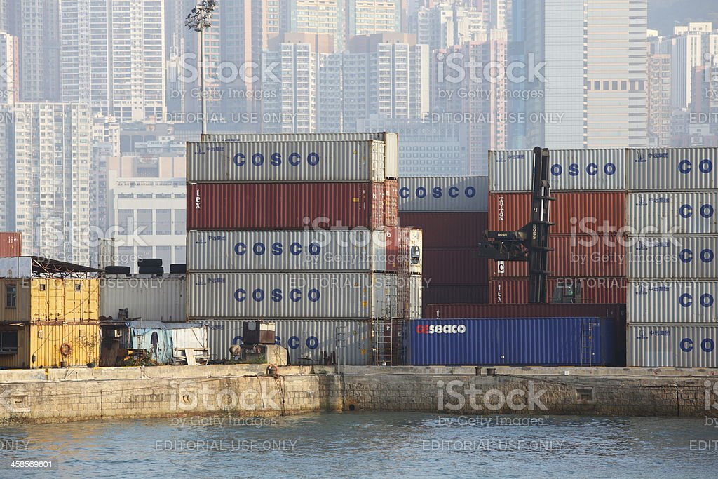 Container Depot in Hong Kong royalty-free stock photo