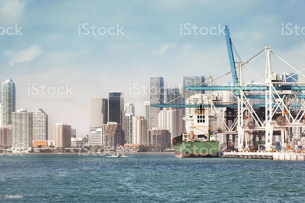 Container Dock in the Port of Miami Florida royalty-free stock photo