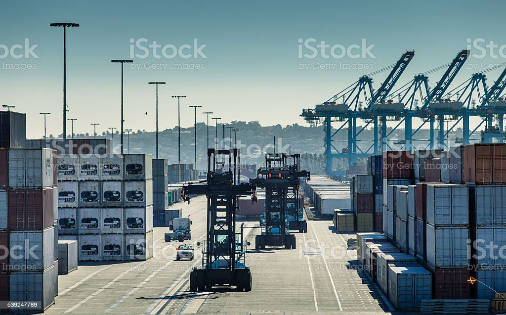 Container Forklifts in Yard stock photo